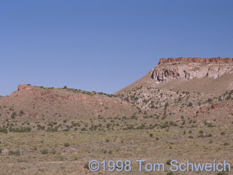 Peach Springs Tuff, Winkler Formation, and Wild Horse Mesa Tuff on the south side of Pinto Mountain.