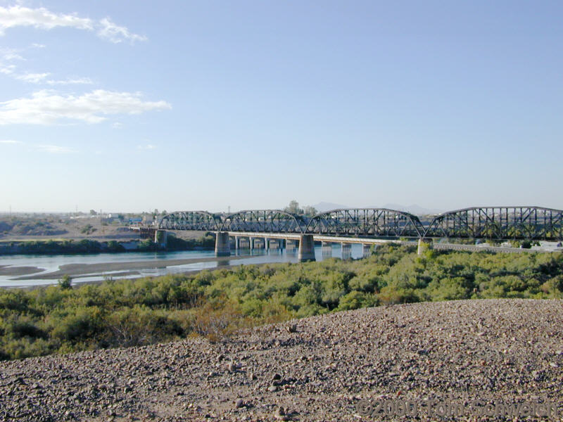 Colorado River bridge between Earp, California and Parker, Arizona.