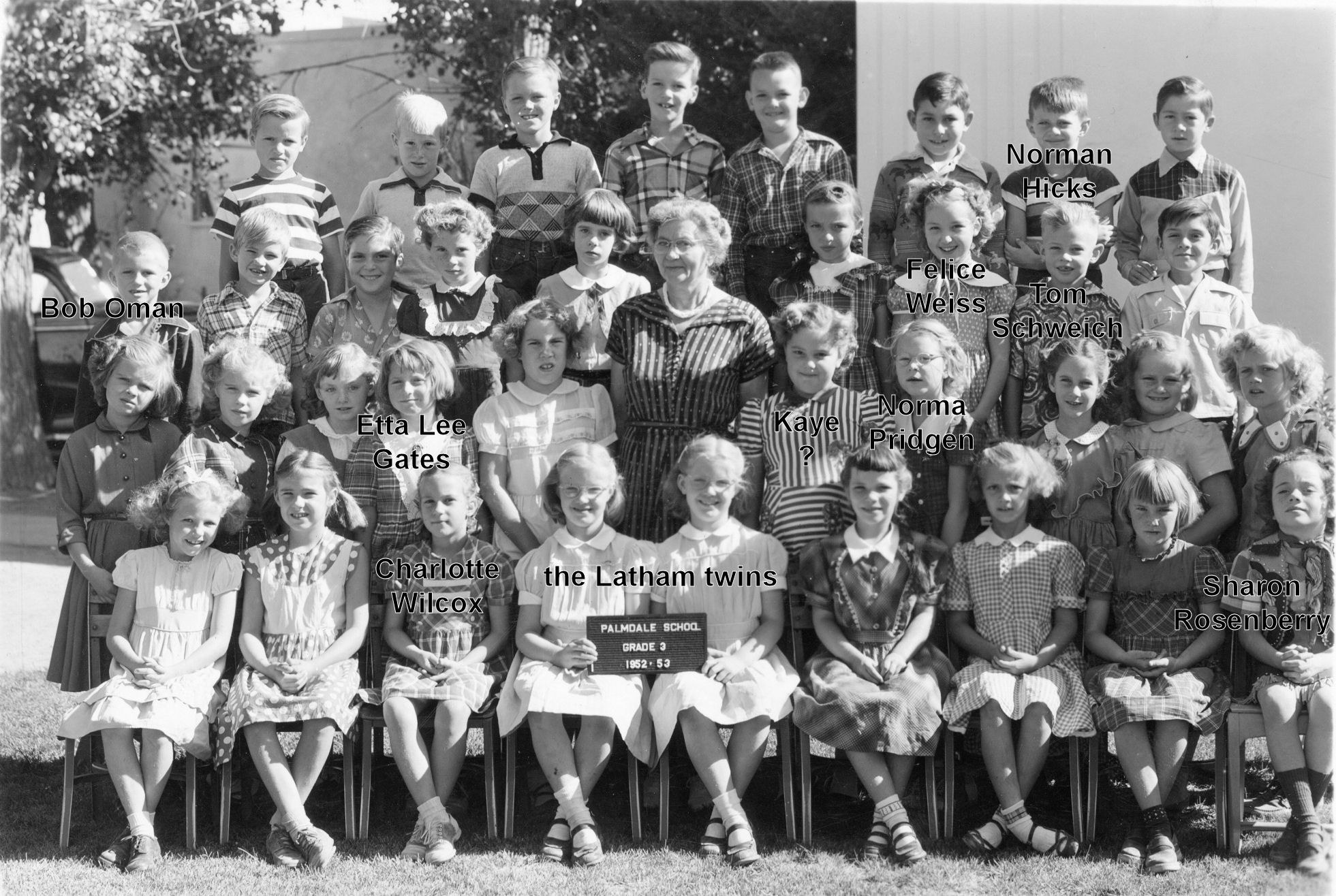 Palmdale School, Third Grade, 1952-3, Mrs. Connely (with Names)