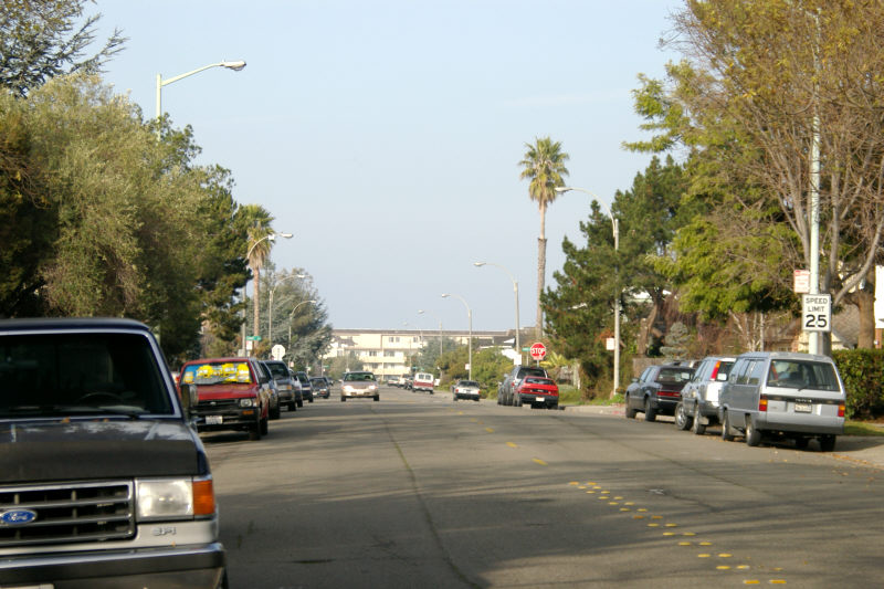 General view of Bayview Drive, looking northwest.