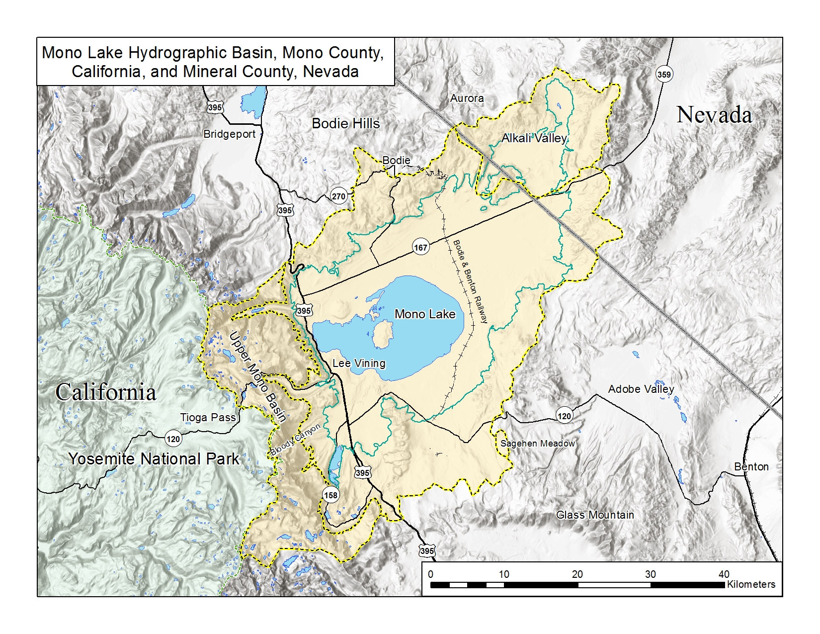 Map, Mono Lake basin, Mono County, California