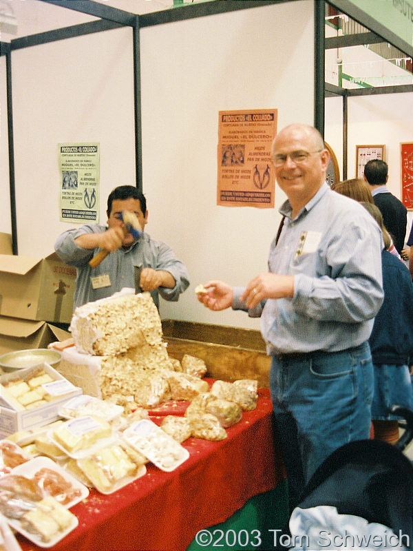 Buying turron at the crafts fair.